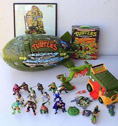 VINTAGE-TMNT-LOT-13-Teenage-Mutant-Ninja-Turtles-Action-Figures-and-4-Vehicles
