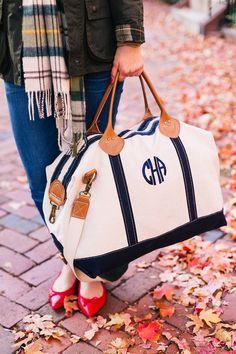Monogrammed weekender bag
