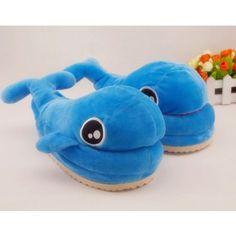 $21.59  Comfy Feet Dolphin Animal Blue Plush Slippers