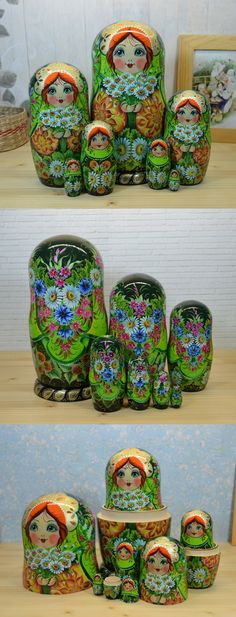 One of a kind russian nesting doll set of 7, hand painted by famous artist Nelly Marchenko. Find more gorgeous matryoshka dolls at: www.bestrussiandolls.etsy.com