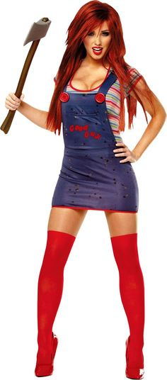 Sexy Chucky Costume for Women - Party City Pair this costume with red Chucks!