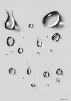 A different kind of drops, on grey paper, made by black pencil Water Drop Vector, Water Drop Logo, Water Drop Photography, Abstract Photography, Underwater Photography, Rain Photography, Pencil Art Drawings, Art Drawings Sketches, Water Drop Quotes