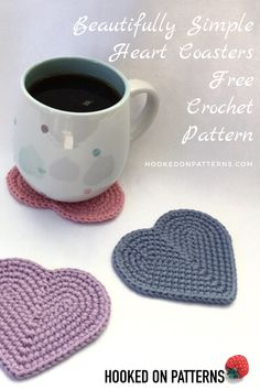 Free heart coaster crochet pattern - These cute heart shaped coasters are made in only 6 rounds. I will guide you through, and beginners can join in too! Knitting For BeginnersKnitting For KidsCrochet PatronesCrochet Amigurumi Crochet Whale, Knit Or Crochet, Crochet Gifts, Free Crochet, Free Heart Crochet Pattern, Crochet Hearts, Crochet Owls, Crochet Food, Chrochet