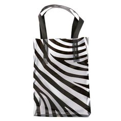"""Zebra Frosty tote bag...Go wild with our zebra-patterned translucent bag! From our Zebra Collection, this 5"""" x 3"""" x 7"""" tote bag features 4 mil. gauge construction, black-folded soft loop handles, and bottom boards for extra durability. Ideal for drawing extra attention to zoos, charitable animal foundations, and retailers with a creative flair. Customize with your company name and logo, then send this eye-catching piece on the move for new customers!"""