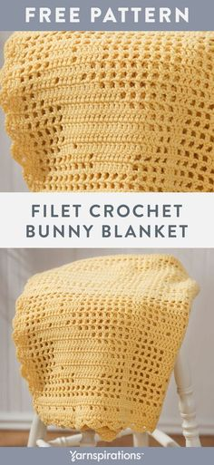 Free Filet Crochet Bunny Blanket crochet pattern using Red Heart Super Saver yarn. Try this fresh springtime project that brings ele… in 2020 Crochet Patterns Filet, Crochet Curtain Pattern, Crochet Baby Blanket Free Pattern, Easy Crochet Blanket, Crochet Curtains, Crochet Quilt, Easter Crochet, Crochet Bunny, Bunny Blanket