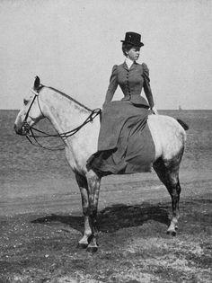 corseted side saddle lady