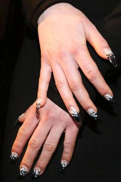"stiletto nails: ""It's more of an almond that comes to a point.... The great thing about stilettos is you don't have to be Lady Gaga to wear them. They really lengthen the fingers.""-- Miss Pop"