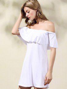 Frilled Off The Shoulder Mini Dress - WHITE M
