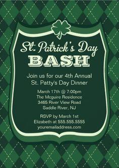 Green argyle St. Patrick's Day Invitations