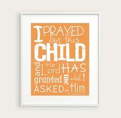 "$14  Christian Nursery Decor, 1 Samuel 1:27 ""I Prayed for this Child"" Bible Verse Topography Print, You Choose Color 8x10, Nursery Art, Baby Gift"