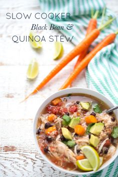 Super easy to prepare, Slow Cooker Chicken, Black Bean and Quinoa Stew is full of hearty, nourishing ingredients and will be a hit with the entire family. The perfect healthy dinner recipe in a hurry!