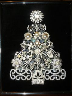 Vintage Jewelry Christmas Tree - Rhinestones Galore