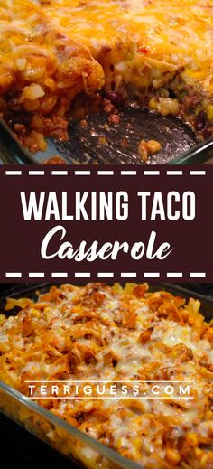 This walking taco casserole combines your favorite ingredients from a walking taco into a delicious casserole. Taco meat is layered in a baking dish with Frito chips, cheddar cheese soup and shredded Mexican cheese blend. Mexican Dishes, Mexican Food Recipes, Real Food Recipes, Cooking Recipes, Meat Recipes, Cooking Tips, Recipies, Dorito Taco Casserole, Casserole Recipes