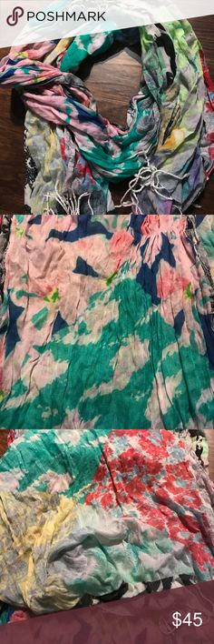 """Anthropologie abstract multi color scarf 100% cotton.  60"""" long.  Florals and tie dye abstract print Anthropologie Accessories Scarves & Wraps"""