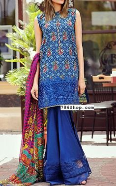 Blue Lawn Suit | Buy Alkaram Pakistani Dresses and Clothing online in USA, UK