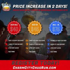 Ticket prices increase $10 at midnight this Wednesday. Register today to save on Baltimore's most chugtastic running event. Learn more at http://ift.tt/1P252pS #Baltimore #CharmCity #ChugRun #CraftBeer #HeavySeas #WillRunForBeer #BeerMile #BeerRun #Running by charmcitychugrun