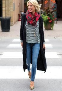 This # looks SO comfy for fall. Striped tee, essential long cardi, and plaid scarf (We have at least 3 different colors at the moment)