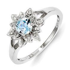 Sterling Silver Diamond & Light Blue Topaz Ring