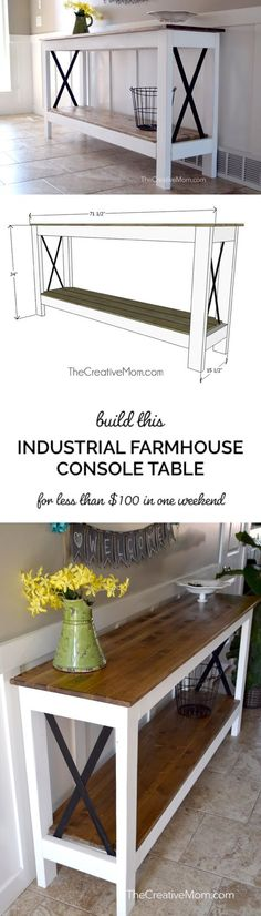 How to build an Industrial Farmhouse Console Table or entryway table (free build., How to build an Industrial Farmhouse Console Table or entryway table (free building plans). This table is so cute and has cute metal x accents. Farmhouse Entryway Table, Industrial Farmhouse, Farmhouse Furniture, Farmhouse Decor, Entryway Tables, Console Tables, Industrial Table, Farmhouse Ideas, Industrial Furniture