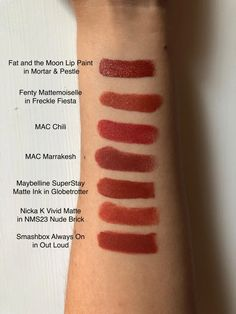 Swatches of my very unnecessary brick red lipstick collection : OliveMUA Mac Lipstick Shades, Mac Lipstick Swatches, Makeup Swatches, Lipstick Colors, Red Lipsticks, Lip Colors, Hair Colours, Ysl, Lipsticks