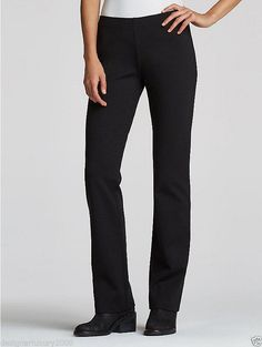 f2b6ca1e86e NWT Eileen Fisher Petite Viscose Stretch Ponte Slim Bootcut Pant Black 12P   EileenFisher  KnitPants