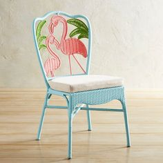 Pull up our flamingo chair and get comfortable, whether you're creating a balcony retreat or a cozy outdoor space for two or providing extra seating when guests drop in. It has the look of wicker that's been hand-woven on a metal frame, making it conveniently stackable and all-weather practical.
