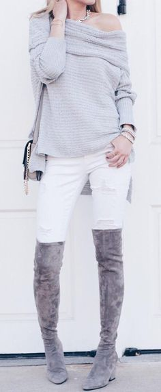 #cute #outfits Off Shoulder Grey Knit // White Ripped Jeans // Grey Suede Knee High Boots