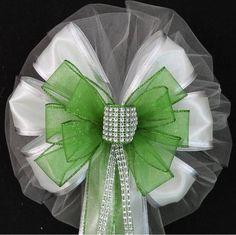 Lime Green Bling White Sparkle Wedding Bows