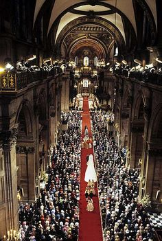 Beautiful St. Paul's Cathedral with the procession of  Lady Diana and her wedding party.