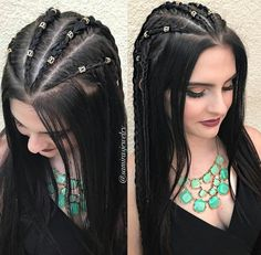 Pin by Zeisha on Hairstyle in 2019 Cute Hairstyles For Medium Hair, Cute Braided Hairstyles, Little Girl Hairstyles, Down Hairstyles, Medium Hair Styles, Curly Hair Styles, Curly Hair Braids, Viking Hair, Girls Braids