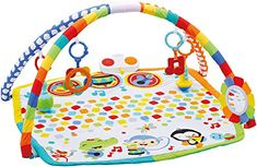 Fisher-Price Baby's Bandstand Play Gym. Musical mat play grows with baby. Baby can kick or bat the mat for musical rewards. Features four linkable toys with fun sounds: maraca rattle, tambourine clacker, musical note teether and trumpet jingle. Boom box speaker with loop to link toys. Machine washable mat (with electronics detached).
