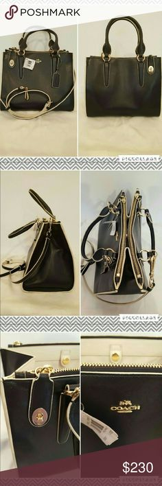 Coach handbag Gorgeous navy bag with gold hardware and chalk outline.  New with tags. Crossbody strap included. Coach Bags