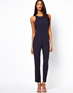 a8b639656c3e ASOS Jumpsuit With Chic Racer Detail Blue Jumpsuits