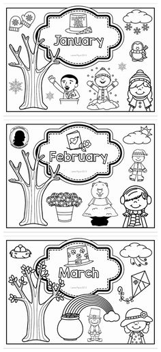 Monthly Binder and Journal Covers. Each page displays the month and appropriate seasonal pictures.