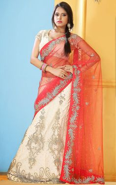 USD 201.89 Red Net Wedding Lehenga Saree 48207