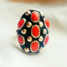 "Vintage Signed Navajo Coral Sterling Roybal Ring-7 Beautiful Vintage Navajo Coral Ring set in Sterling Silver, signed by J.Roybal. Excellent condition. Face measures approximately  1.25"" x .75"". Size 7. Vintage Jewelry Rings"
