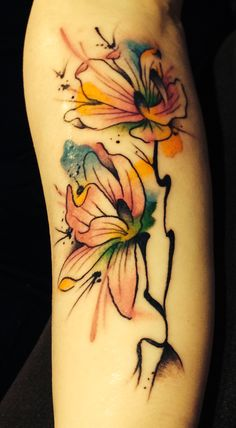 Water color magnolia tattoo