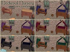 What is a castle or medieval peasant's home without a nursery to go with it? Here are 3 new meshes: cradle, change table and potty to match the theme.