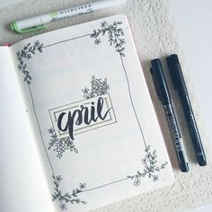 Bullet journal monthly cover page, April cover page, flower doodles, hand lettering. | @butterandfly15.bujo