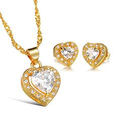 BILONG Womens Jewellery Set Chic Bridal Party CZ Gold Plated Necklace Earrings Set * Check this awesome product by going to the link at the image. Note:It is Affiliate Link to Amazon.