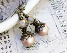 Purple Earrings Amethyst Earrings Ivory Earrings Ivory