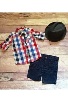 Boys Red Plaid Button Up - $44 Navy Shorts - $40