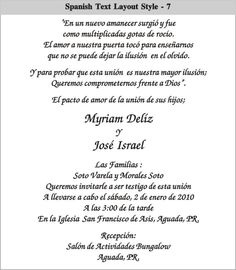 Wording sample for wedding invitation in spanish wedding ideas cinderella wedding invitations in spanish spanish text layout 7 spanish text layout 8 spanish text filmwisefo