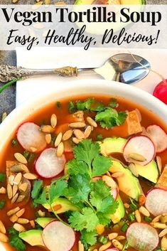 You can make this delicious vegan tortilla soup in 15 minutes for dinner tonight. Watch everyone lick their bowls clean! It's naturally gluten free, plus I share tips for making a low FODMAP version in the recipe notes. Gluten Free Soup, Healthy Gluten Free Recipes, Fodmap Recipes, Heart Healthy Recipes, Diet Recipes, Vegan Tortilla, Tortilla Soup, Vegetarian Lunch, Vegetarian Recipes