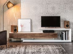 Low walnut TV cabinet LINK By Cattelan Italia design Paolo Cattelan Tv Rack Design, Tv Cabinet Design, Tv Unit Design, Tv Console Modern, Modern Tv Cabinet, Console Tv, Modern Entertainment Center, Entertainment Products, Modern Tv Units