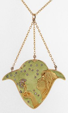 Attributed to Paul Follot - An Art Nouveau 18 karat gold, enamel and diamond, circa 1900s. The pendant depicts a woman blowing diamond dandelion seeds against a pale green enamel background. Signed P.F.