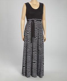 Look at this #zulilyfind! Black & White Zebra Sleeveless Maxi Dress - Plus #zulilyfinds