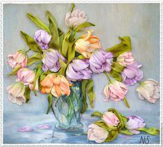 """Ribbon embroidery / Купить Картина вышитая лентами """"Большой букет тюльпанов""""…"""