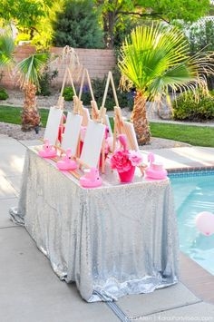 Check out the super fun and easy art party details for any party theme with this Kara's Party Ideas signature Flamingo Pool + Art Summer Birthday Party! Pink Flamingo Party, Flamingo Pool, Flamingo Birthday, Art Birthday, Summer Birthday, Birthday Party Themes, Flamingo Art, Barbie Birthday, Birthday Quotes