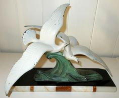 Art Deco Sculpture. Pair of Sea Birds in Flight. Spelter figures on Two Tone…